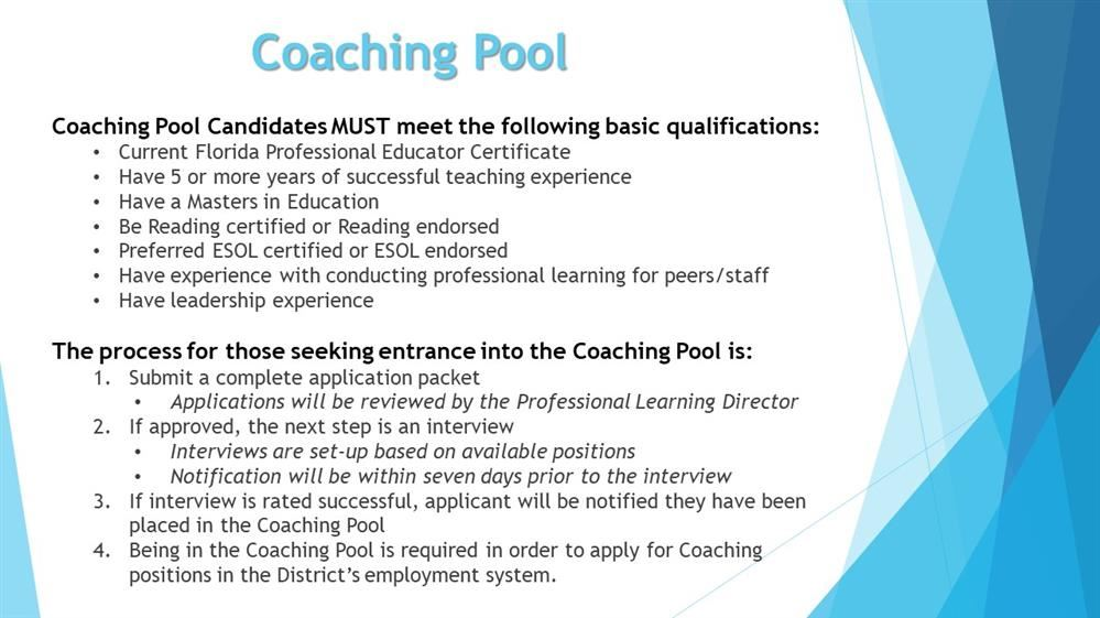 Curriculum And Professional Learning Coaching Pool