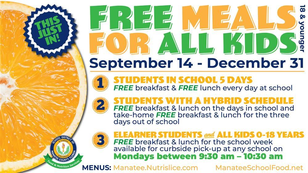 Free Meals for All Kids September 14 - December 31