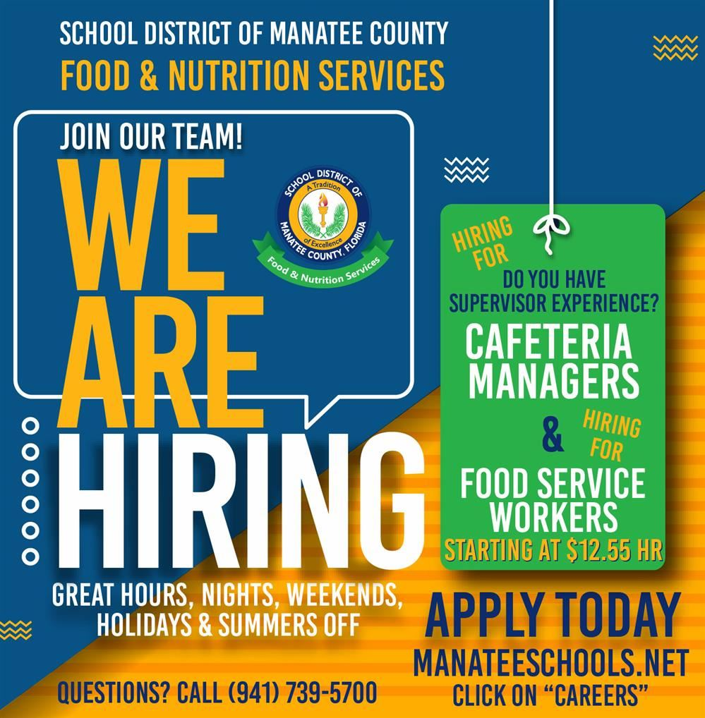 Food and Nutrition is Hiring Managers and Food Service Workers. Apply today!