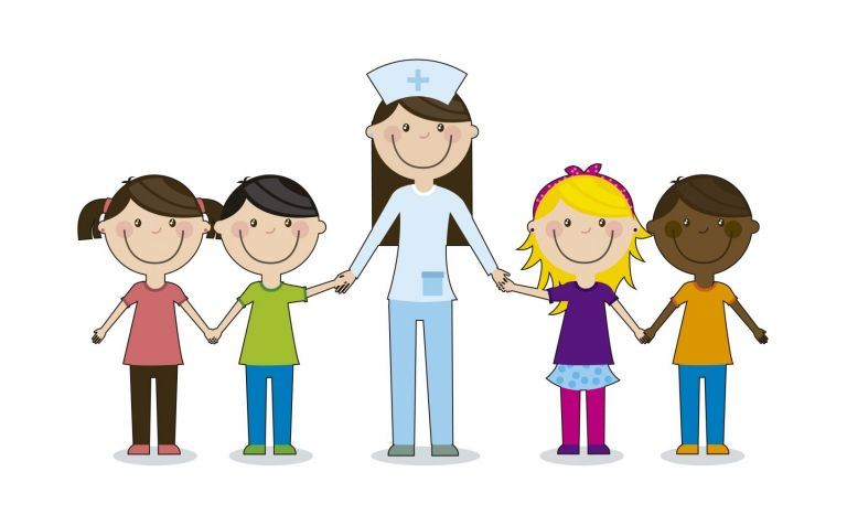 happy nurse holds hands with happy students