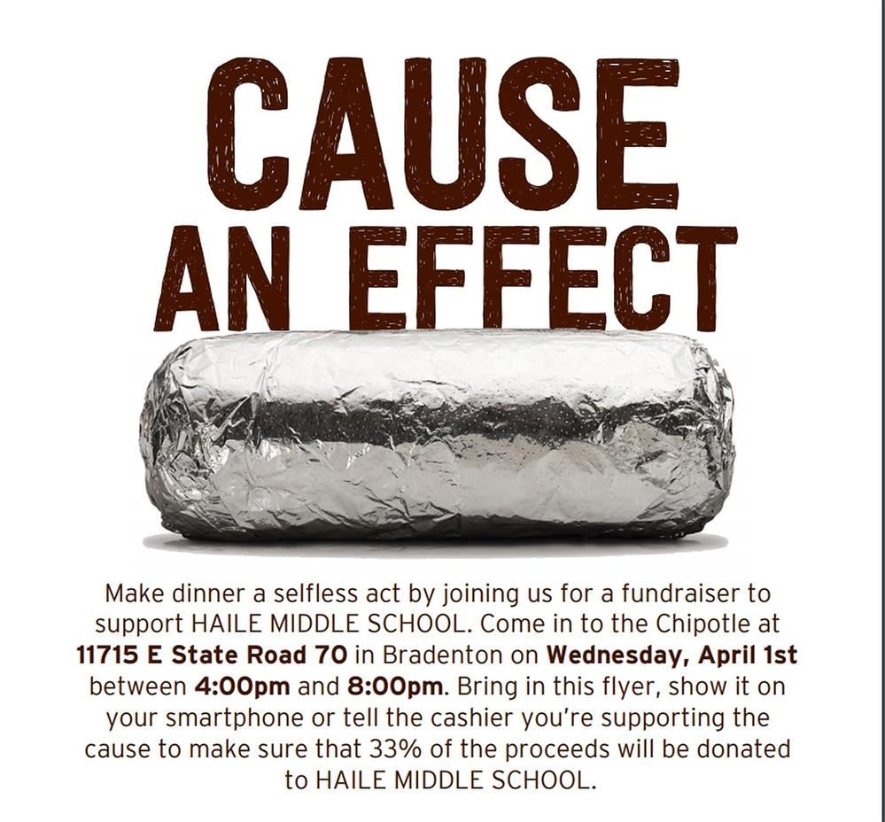 Chipotle Fundraiser for Haile Middle School on April 1st
