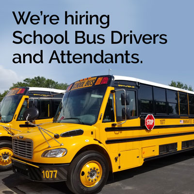 We're hiring School Bus Drivers and Attendants.