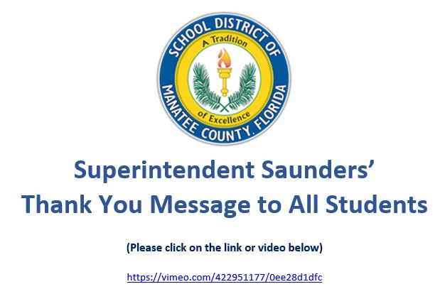 Superintendent Saunders' Year End Message to Students