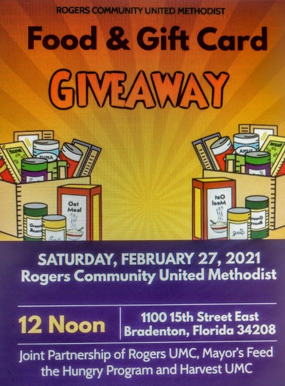 Food and Gift Card Giveaway at Rogers Community Methodist at Noon on Saturday