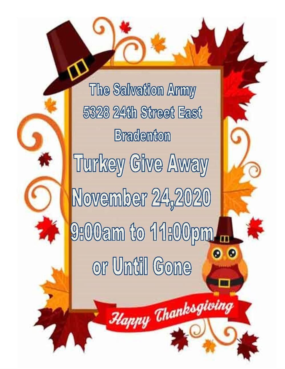 The Salvation Army Turkey Give Away 11/24 from 9:00-11:00